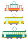 Set retro style trams white background Royalty Free Stock Photo