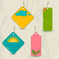 Set of retro summer tags vector illustration eps Stock Image