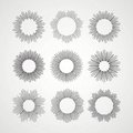 Set of Retro Sun burst shapes. Vector illustration Royalty Free Stock Photo