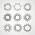 Set of Retro Sun burst shapes. Vector illustration Royalty Free Stock Photo