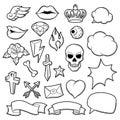Set of retro tattoo symbols. Cartoon old school illustration Royalty Free Stock Photo