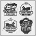 Set of retro trains emblems, labels, badges and design elements. Print design for t-shirts.