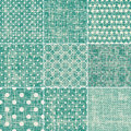 Set of retro turquoise and faded grey seamless pat patterns Stock Photography