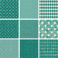 Set of retro turquoise and faded grey seamless pat patterns Royalty Free Stock Image