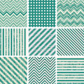 Set of retro turquoise and faded grey seamless pat patterns Royalty Free Stock Photo