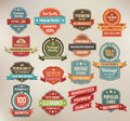 Set of retro vector label stickers and ribbons vintage sales promotion banners Stock Images