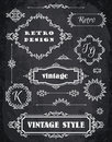 Set of Retro Vintage Badges, Frames, Labels and Borders. Chalk B Royalty Free Stock Photo