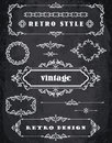 Set of Retro Vintage Frames and Borders. Chalk Board Background Royalty Free Stock Photo