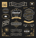 Set of retro vintage graphic design elements sign frame labels ribbons logos symbols crowns corner flourishes line and ornaments Royalty Free Stock Photos