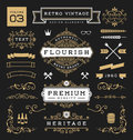 Set of retro vintage graphic design elements sign frame labels ribbons logos symbols crowns flourishes line and ornaments vector Royalty Free Stock Photo