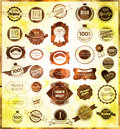 Set of retro vintage labels and ribbons vector illustration Royalty Free Stock Photos