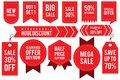 Set ribbon banner and label sticker sale offer and badge tag sale advertising Royalty Free Stock Photo