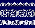 Set of ribbon seamless floral patterns on blue in ethnic national style of Uzbekistan, Asia, vector illustration. Royalty Free Stock Photo