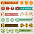 Set of ribbons & icons Stock Photography