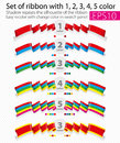 Set of ribbons from one, two, three, four and five colors