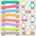 Set of ribbons and stamps sewing style Royalty Free Stock Photos
