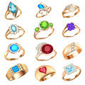 Set of rings with precious stones on a white background illustration Stock Photography