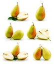 Set of Ripe Pear Fruits Isolated on White Royalty Free Stock Photo