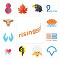 Set of rising, v circle, , heartbeat, student book, two hands, sea shell, cow head icons Royalty Free Stock Photo