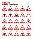 Set road hazard warning signs, road signs warn about the situation of traffic rules, vector red triangle. set of symbols