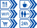 Set of road signs with arrow automotive blue Royalty Free Stock Photography
