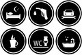 Set road signs for hotel or gas station black round Stock Images