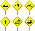 Set road signs with services for travel and car yellow traffic Stock Photo