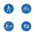Set of road signs. Signboards. Collection of mandatory traffic signs. Vector illustration. Royalty Free Stock Photo