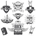 Set of rock and roll music emblems. Royalty Free Stock Photo