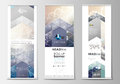 Set of roll up banner stands, flat design templates, abstract geometric style, corporate vertical vector flyers
