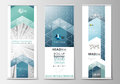 Set of roll up banner stands, flat design templates, geometric style, modern business concept, corporate vertical flyers