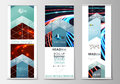 Set of roll up banner stands, flat templates, geometric style, modern business concept, corporate vertical flyers