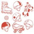 Set of roller skates quads helmet wheel in red tones Stock Image