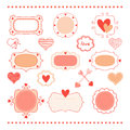 Set romantic frames and hearts for design Stock Photo