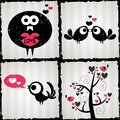 Set of romantic illustrations with cute birds four Royalty Free Stock Photo