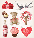Set of romantic items for valentine day Royalty Free Stock Photos
