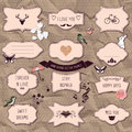 Set of romantic scrapbook elements hand drawn frames and decorative things Royalty Free Stock Photos