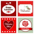 Set of romantic valentine invitation cards illustration cute backgrounds Stock Photo