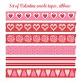 Set of romantic valentine vintage washi tapes ribbons elements cute design patterns seamless Royalty Free Stock Photo