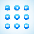 Set of round blue media player buttons Royalty Free Stock Photo