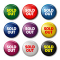 Set of round buttons with words `Sold out` Royalty Free Stock Photo