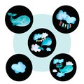 stock image of  Set of round colored icons whale