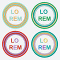 Set of round colorful torn paper frames with shadows