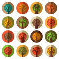 Set of round flat autumn tree icons.