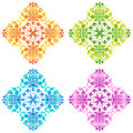 Set of round floral patterns Royalty Free Stock Photo