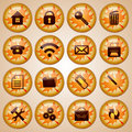 Set of round glass office buttons decorated for autumn with theme season Royalty Free Stock Photo