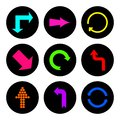 Set of round icons with arrows. Vector illustration