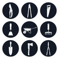 Set of Round Icons Garden Tools