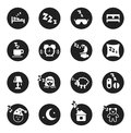 Set of round icons about sweet dreams and bed time black with white silhouettes vector illustration Royalty Free Stock Photos