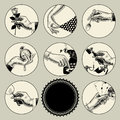 Set of round images in vintage engraving style with body parts a